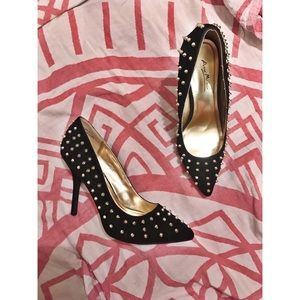 Gold Studded Suede Heels